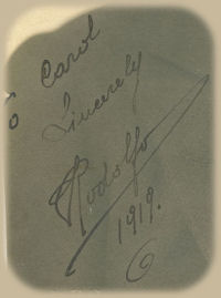 Detail of early Valentino autograph 1919